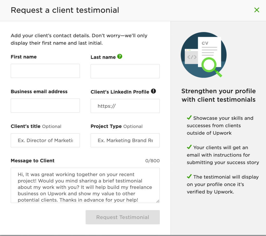 Upwork form to get non-Upwork Testimonies to increase your chances of finding high-paying clients on Upwork